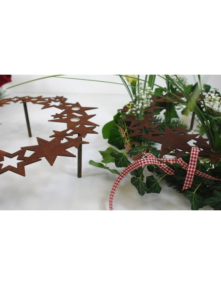 Edelrost Sternenring Reagenzglashalter groß Ø 40cm inkl. Reagenzgläser