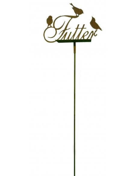Futterstelle mit Schriftzug, 3 Vögel, B 50 cm, Stab 110 cm