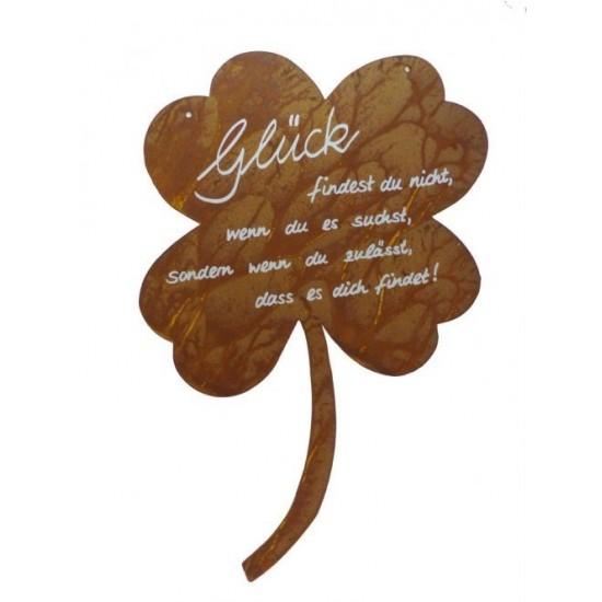 """Rostschild Kleeblatt """"Glück findest du nicht, wenn du es suchst, sondern wenn du zulässt, dass es dich findet!"""