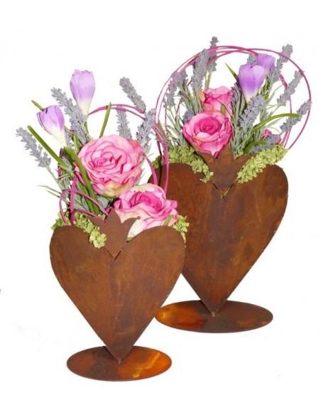 Edelrost - Herz mit Krone zum Bepflanzen auf Bodenplatte Größe 1 und Größe 2