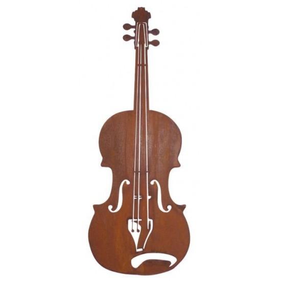 große Geige zr Deko aus Metall mit Edelrost