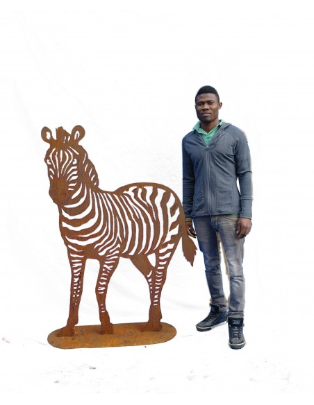 Metallfigur Zebra in Rostfarben verschiedene Größen