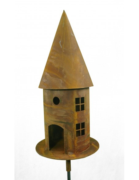 Vogelhaus aus Metall als Lichthaus  -Vogelfutterhaus Rostig mit eckigen Fenstern