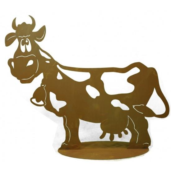 """Edelrost Kuh """"Liselotte"""" 71 cm lang auf Platte"""