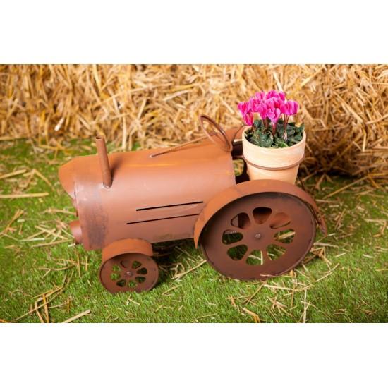 Edelrost-Traktor mit Blumentopf