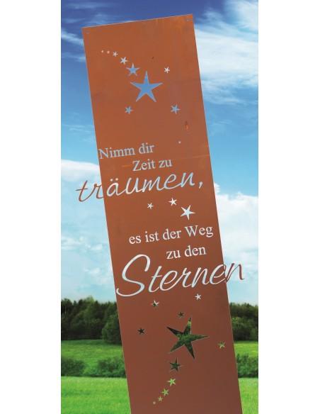 Nimm dir Zeit zum Träumen, es ist der Weg zu den Sternen -Edelrost Gartenschild aus Blech