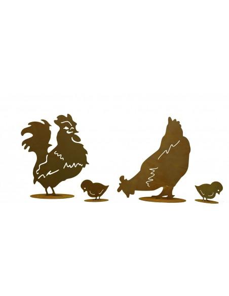 Hühnerfamilie 4er Set ( Henne, Hahn, 2 Küken)