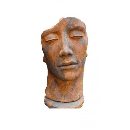 """Steinguss Kunstobjekt: Gesicht """"Mann"""", 115 cm hoch, Edition Ox"""