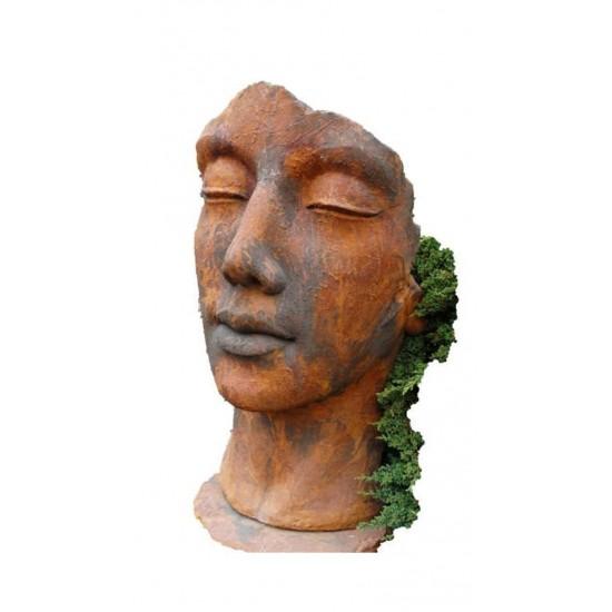 """Steinguss Kunstobjekt: Gesicht """"Frau"""", 115 cm hoch, Edition Ox"""
