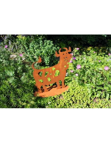 lustige Deko Kuh 60 cm hoch - wetterfeste Gartendeko Figur aus Metall