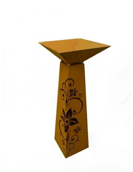 Rostsäule Trapez Blüte Edelweis 116,5 cm inkl. Schale