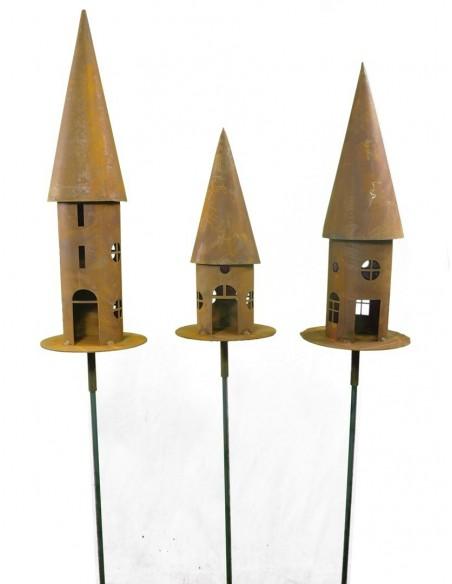 Rundes Vogelhaus in eleganter Rostoptik - verschiedene Varianten