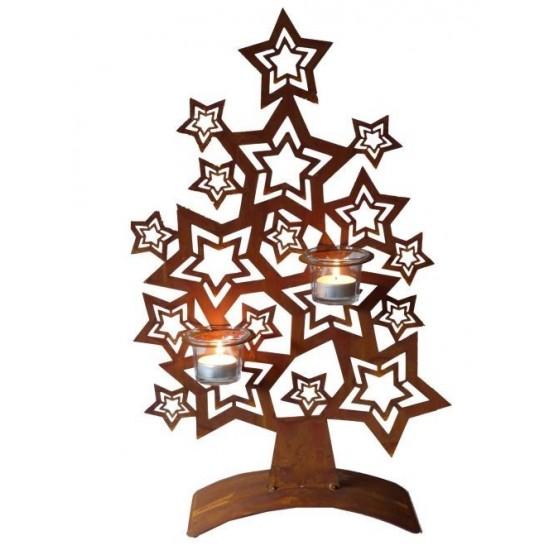 Edelrost Sternenbaum 50 cm für Teelichte Metallmichl Weihnachtsdeko Metallbaum