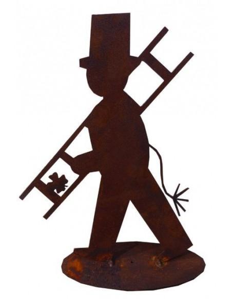 Edelrost Schlotfeger auf Stab 40 cm Glücksbringer Kaminkehrer Geschenk