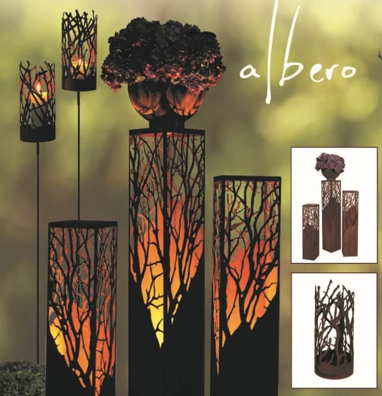 Albero bedeutet Baum - Deko Bäume mit Gartendeko aus Rost
