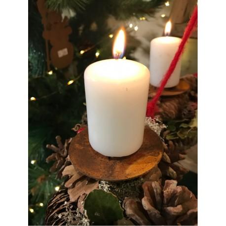 Kerzenteller mit Dorn aus Metall für Adventskranz